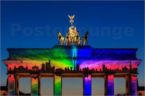 Poster Berlin skyline at the Brandenburg Gate
