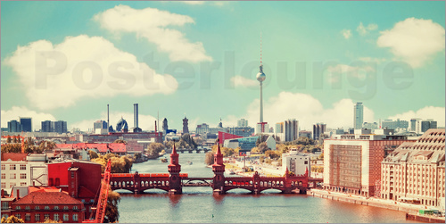 Poster berlin skyline retro