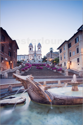 Poster Famous Spanish Steps and Bernini fountain, Rome, Italy
