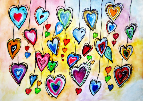 Poster Vibrant Colorful Hearts Painting Abstract