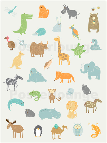 Poster Visit the Zoo all the animals for the nursery