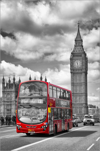 Poster Big Ben and Red Bus