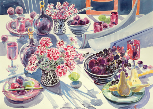 Elizabeth Jane Lloyd - Black Maroon and white Kitchen Table