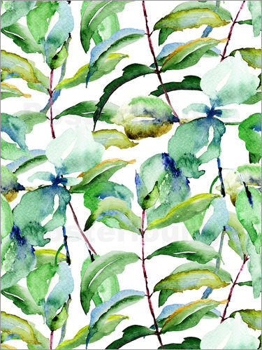 Poster Leaves in Watercolor
