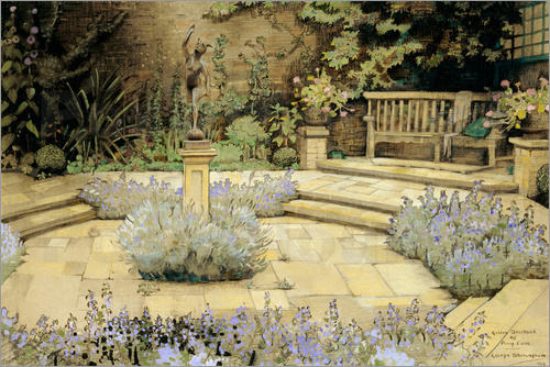 George Sheringham - View of a paved garden with beds of lavender