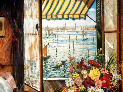 Christopher Nevinson - Looking out a window in Venice