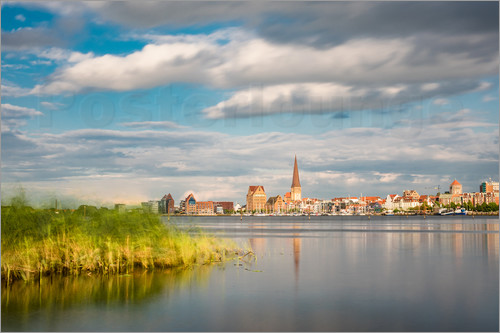 Poster View over the river Warnow to Rostock (Germany)
