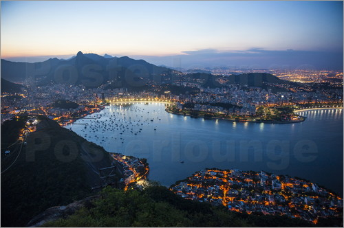 Poster View from the Sugarloaf at sunset, Rio de Janeiro, Brazil, South America