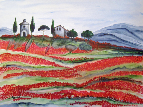 Christine Huwer - Flowering/Blooming Tuscany (Val d'Orcia, Chapel of Vitaleta)