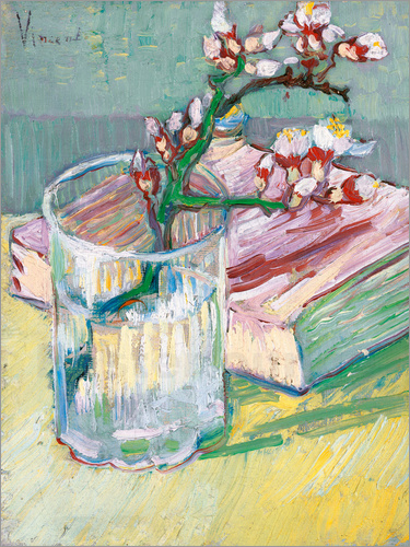 Poster Flowering almond branch in a glass with a book