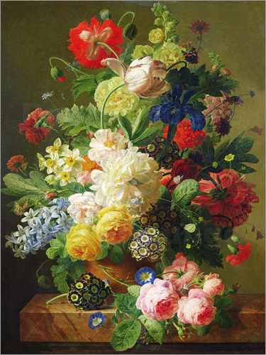 Poster Flowers in a vase on a marble console table