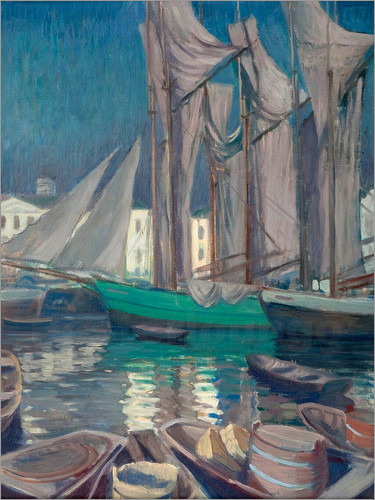 Väinö Blomstedt - Boats in the harbor of Helsinki