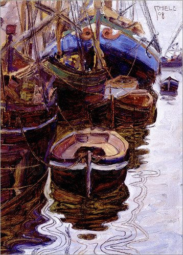 Egon Schiele - Boats in the port of Trieste
