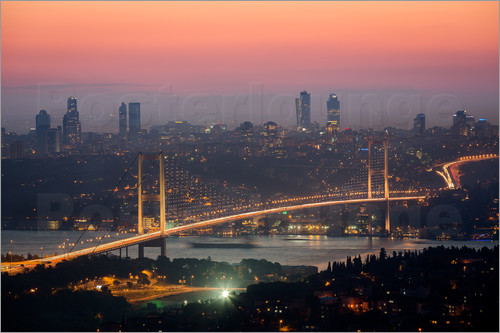 Poster Bosporus-Bridge at Night (Istanbul / Turkey)