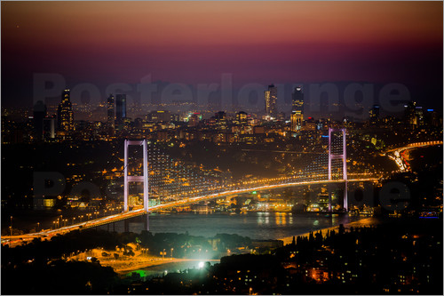 Poster Bosporus-Bridge at night - pink (Istanbul / Turkey)
