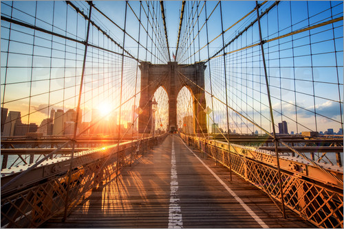jan christopher becke brooklyn bridge in ny at sunrise poster posterlounge. Black Bedroom Furniture Sets. Home Design Ideas