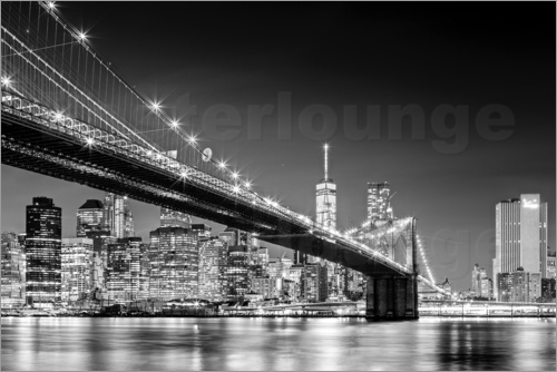 Poster Brooklyn Bridge with Manhattan Skyline (monochrome)