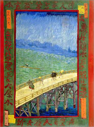 Poster The Bridge in the Rain (after Hiroshige)