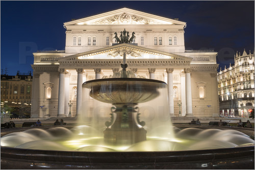 Poster Fountain and Bolshoi Theatre