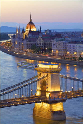 Poster Budapest with River Danube