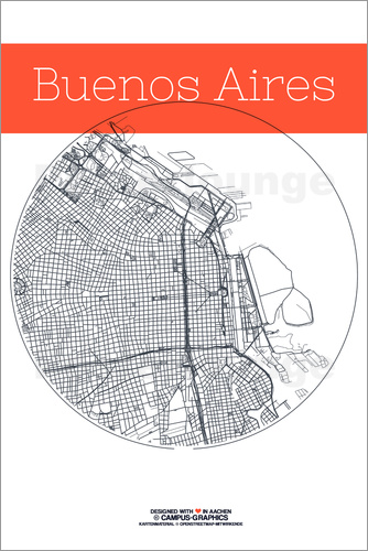 Poster Buenos Aires map city black and white