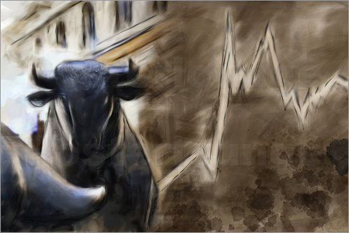 Poster Bull in front of Frankfurt Stock Exchange