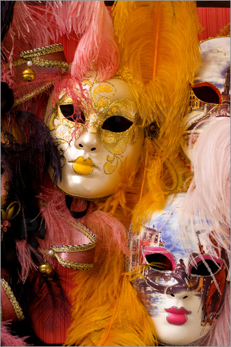 Poster Colourful carnival masks from Venice