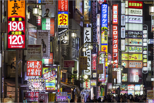 Poster Colorful neon signs in Shinjuku district in Tokyo, Japan
