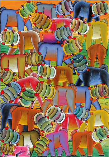 Lewis - Colorful hippo herd
