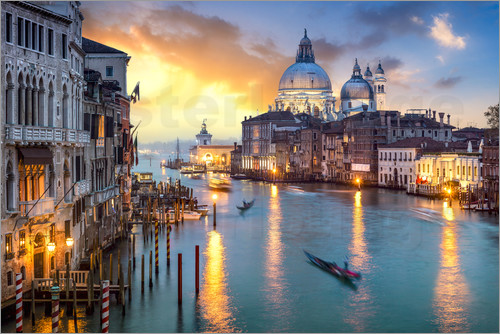 Poster Grand Canal at sunset in Venice, Italy
