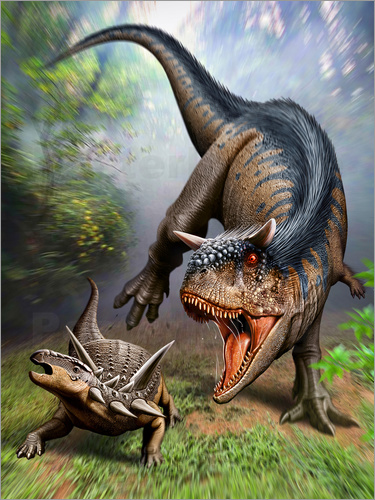 Poster Carnotaurus attacking at Antarctopelta armored dinosaur