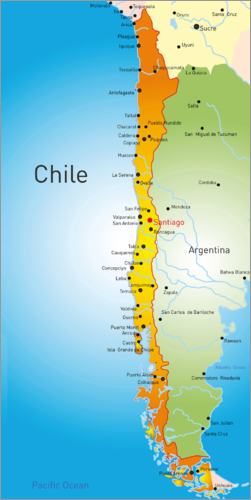 Chile Map Poster Posterlounge