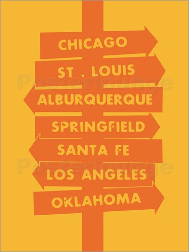 Nory Glory Prints - City signs locations route 66 art print