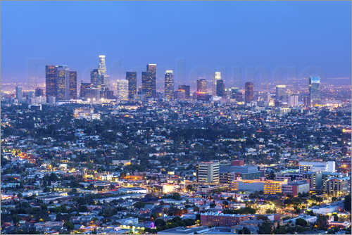 Poster Cityscape of the Los Angeles skyline at dusk, Los Angeles, California, United States of America, Nor