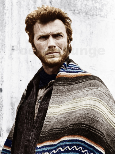 Poster Clint Eastwood with a poncho