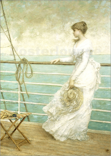 French School - Lady on the Deck of a Ship