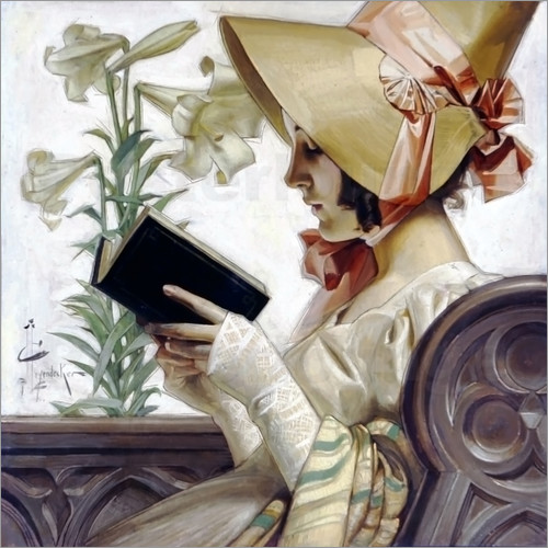 Joseph Christian Leyendecker - Lady with a book