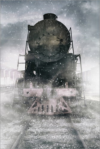 Poster Steam train at the snowing day