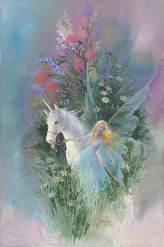 Poster Meadow Fairy & Unicorn