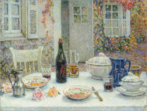 Henri Le Sidaner - The set table in front of the house