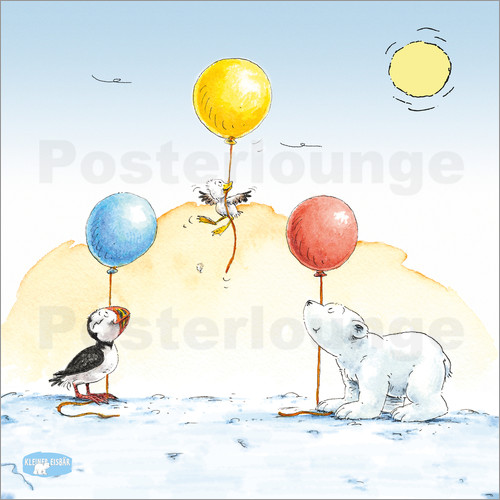 Poster The little polar bear having a party