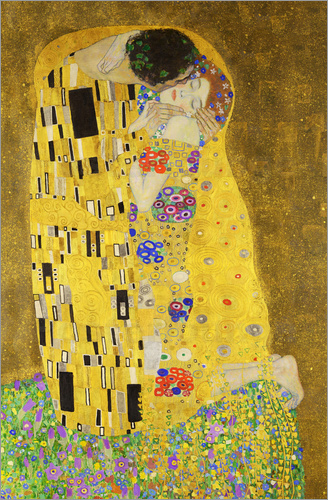 Gustav klimt the kiss portrait poster posterlounge for Poster contemporain
