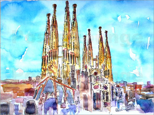 Poster A turquoise heaven above the Sagrada Familia in Barcelona Catalonia