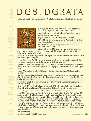Poster Desiderata - Version 3 German
