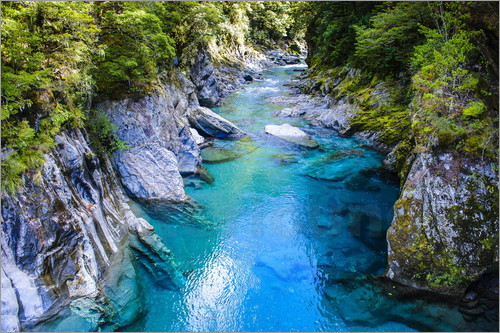 Poster The stunning Blue Pools, Haast Pass, South Island, New Zealand