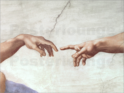 Poster The Creation of Adam (Detail)