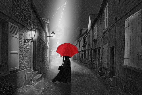 Poster The woman with the red umbrella