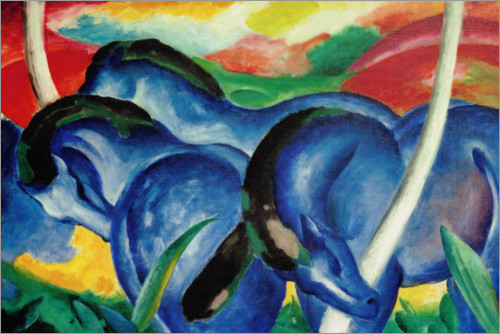 Poster Large blue Horses