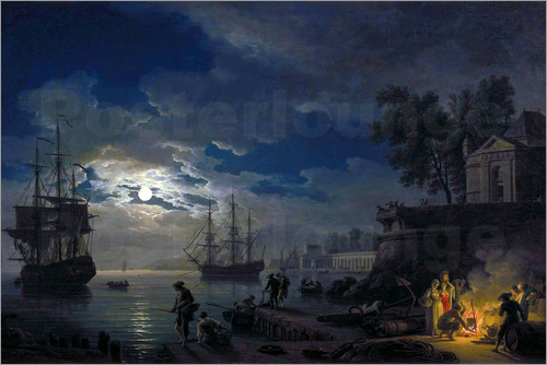 Claude Joseph Vernet - Night: Port in the moonlight