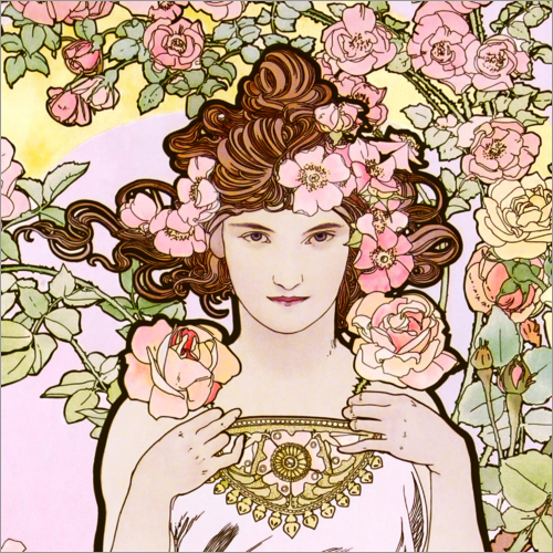 Alfons Mucha - The rose, detail